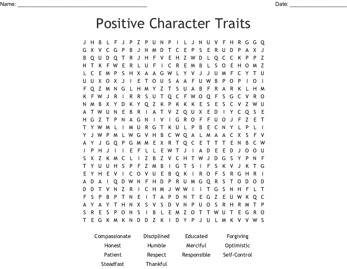 Positive Character Traits Word Search