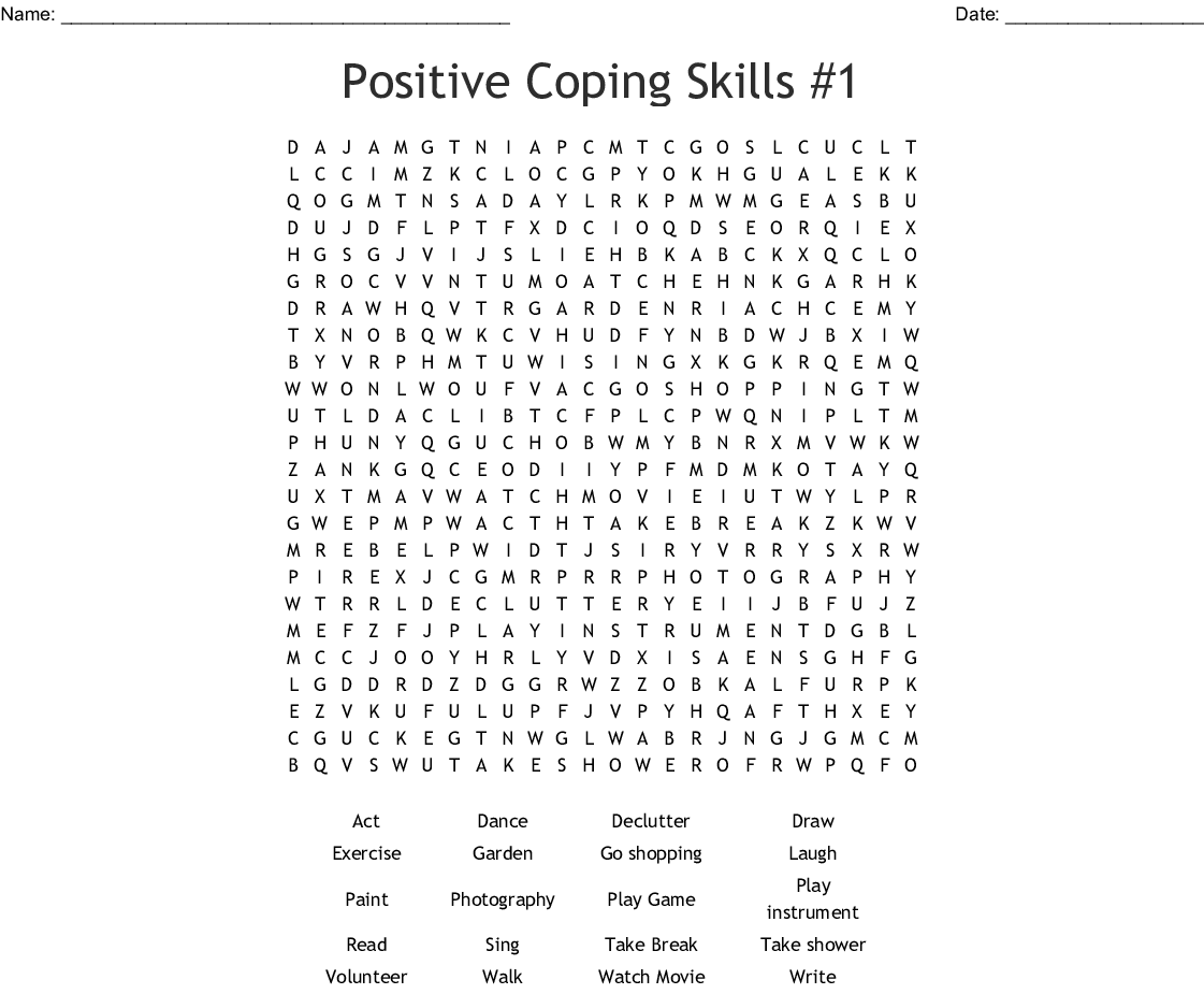 Positive Coping Skills 1 Word Search