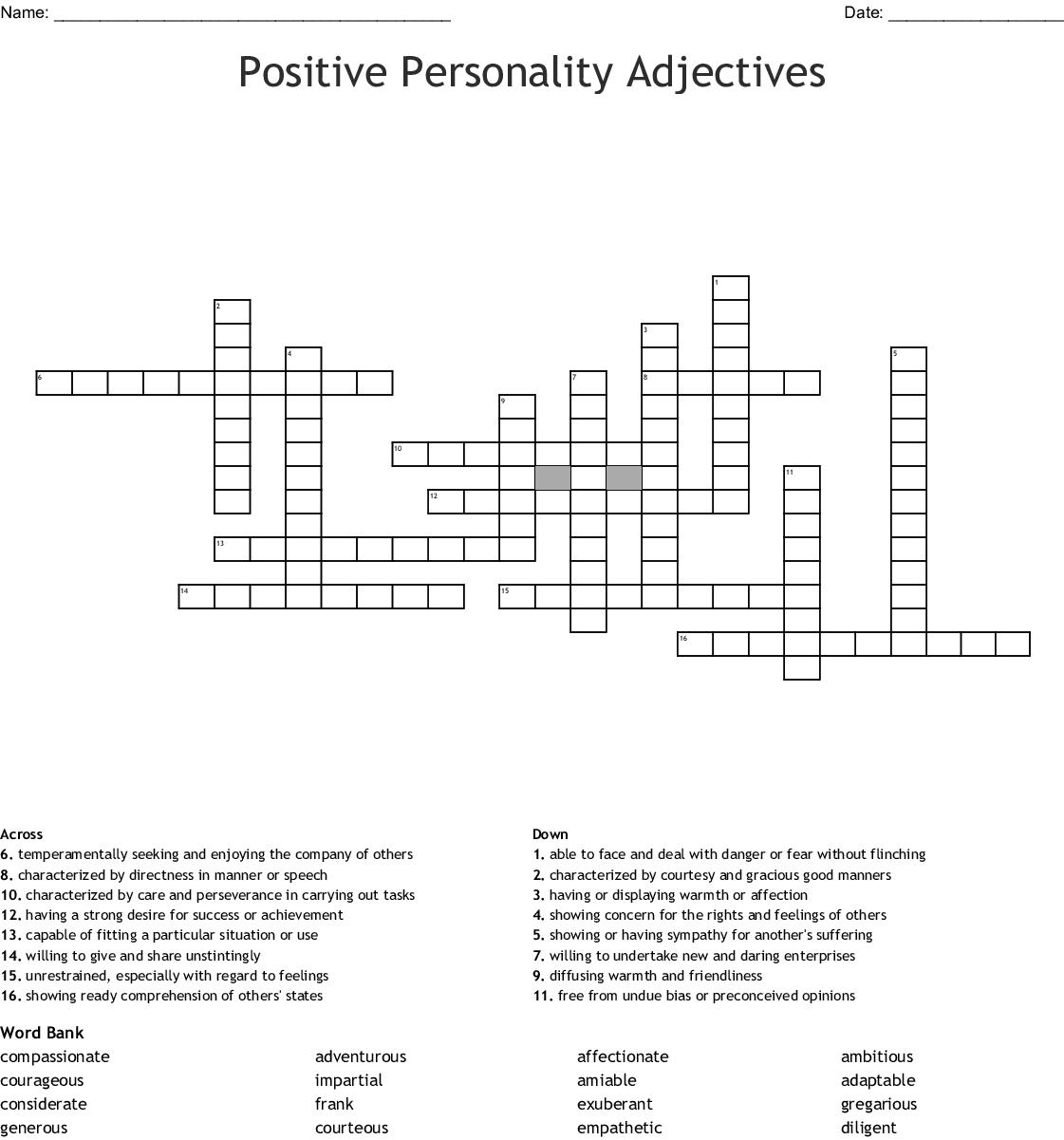 Positive Personality Crossword
