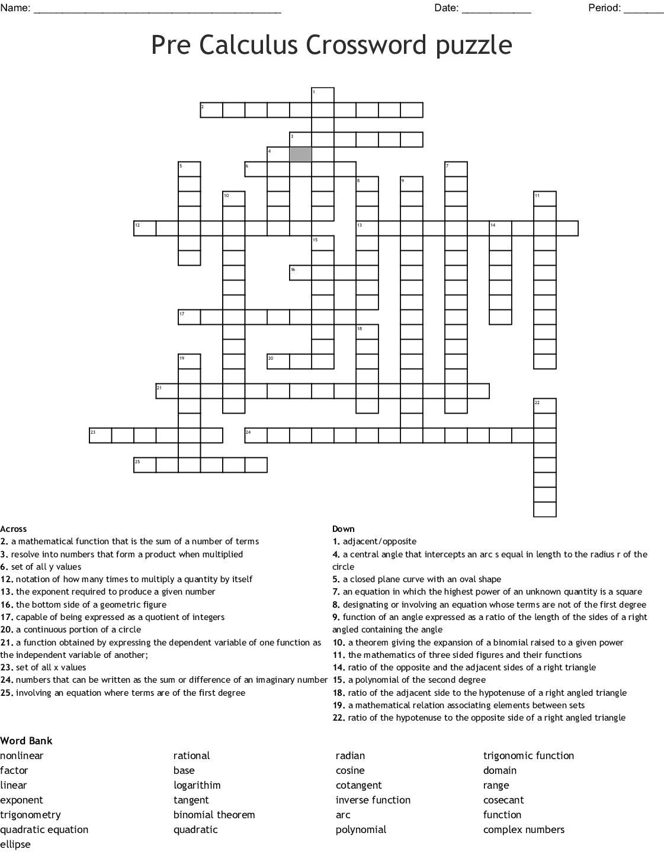 Math Crossword Puzzle Worksheet