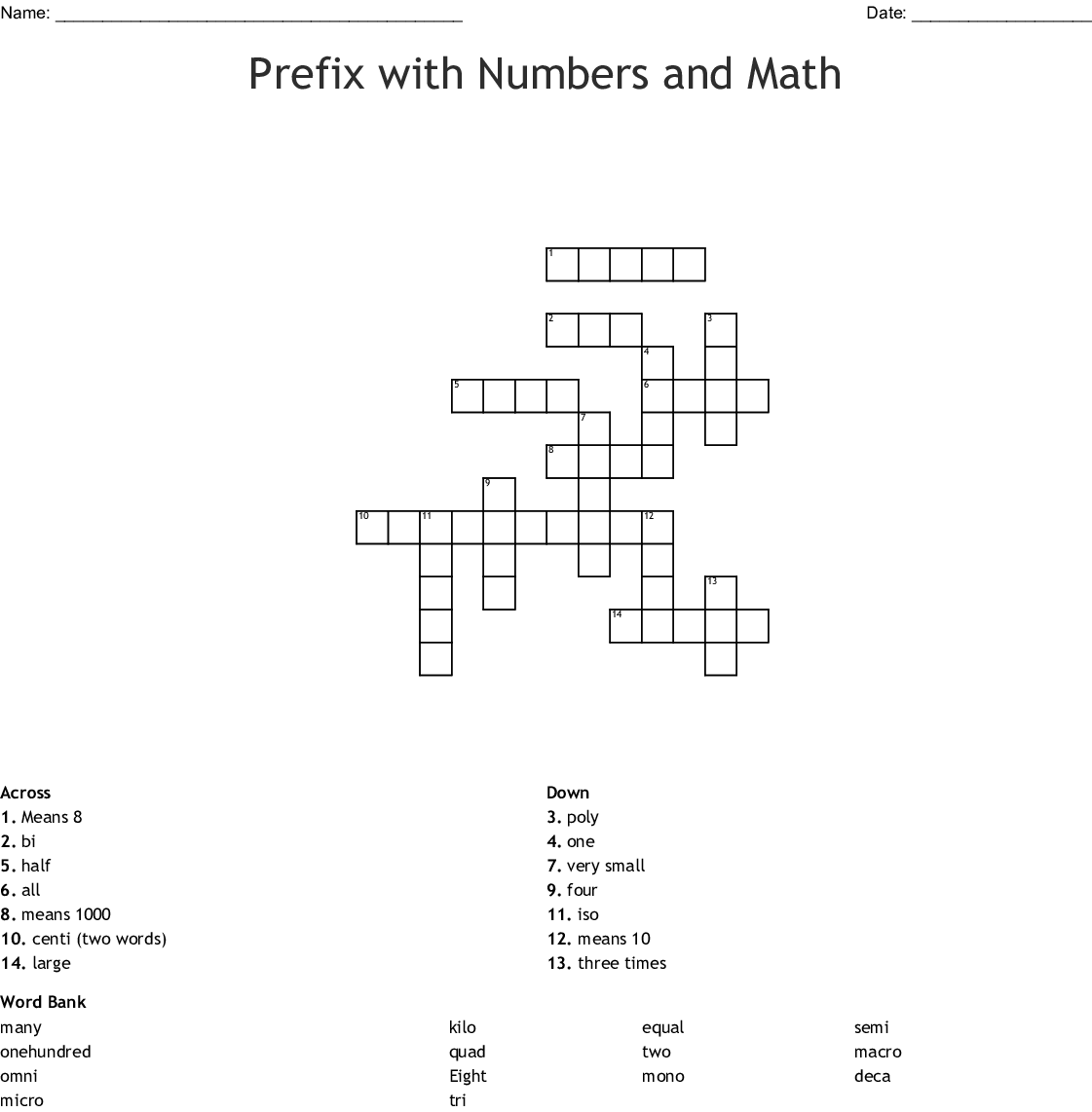 Prefix With Numbers And Math Crossword