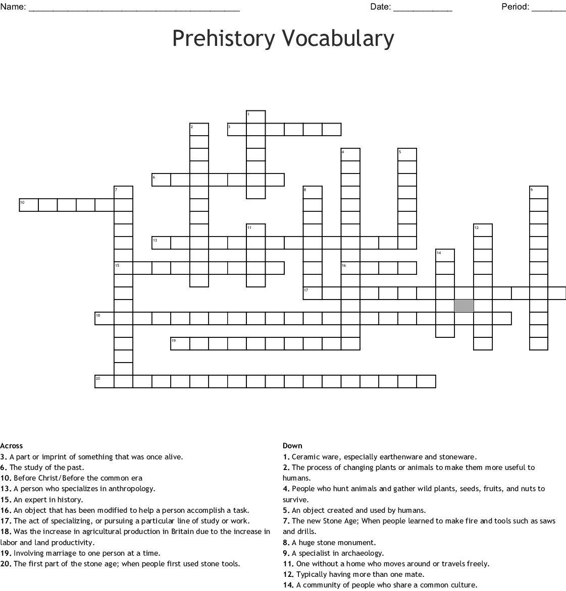Prehistory Vocabulary Crossword Puzzle
