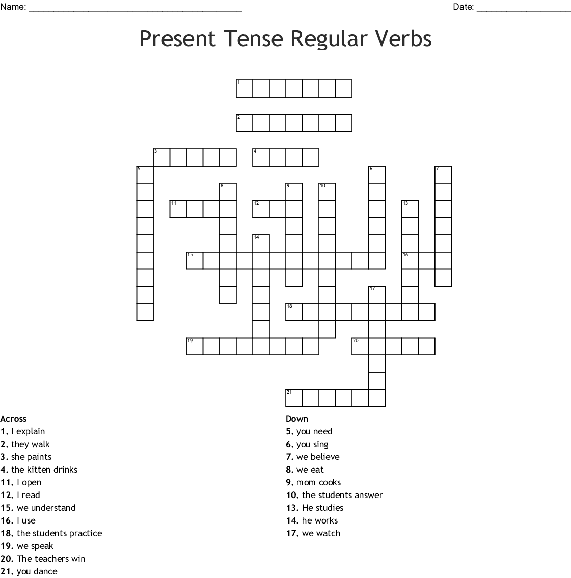 Verbs In Past Tense Word Search