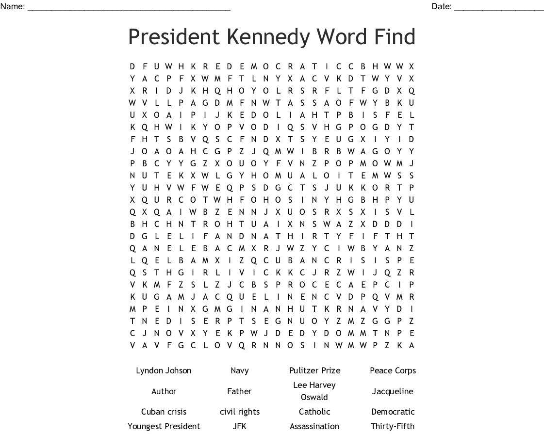 President Kennedy Word Find Word Search