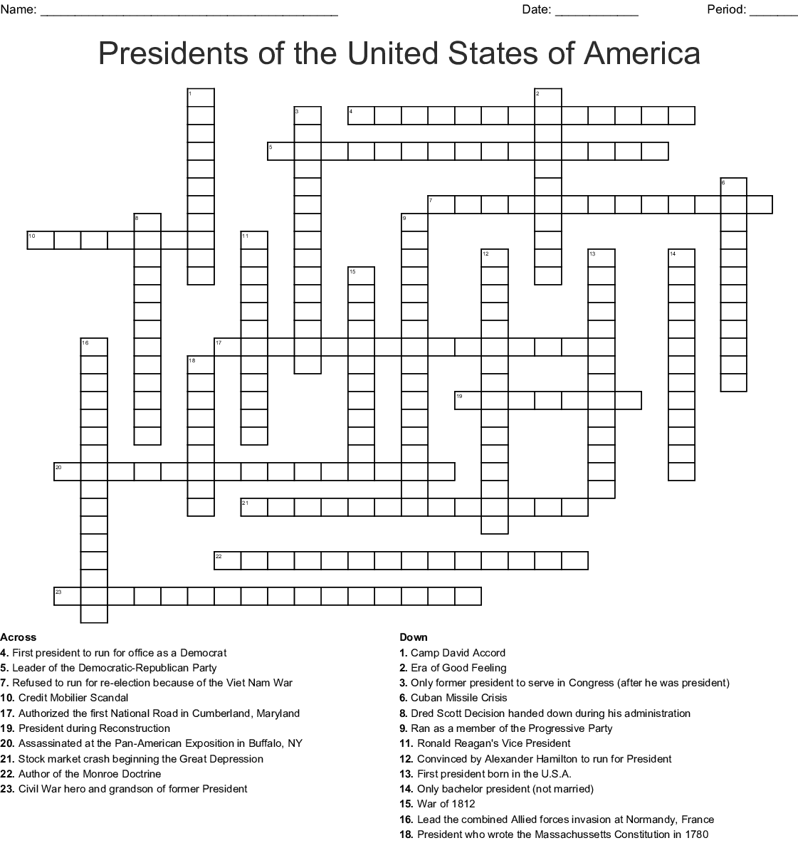 Presidents Of The United States Of America Crossword
