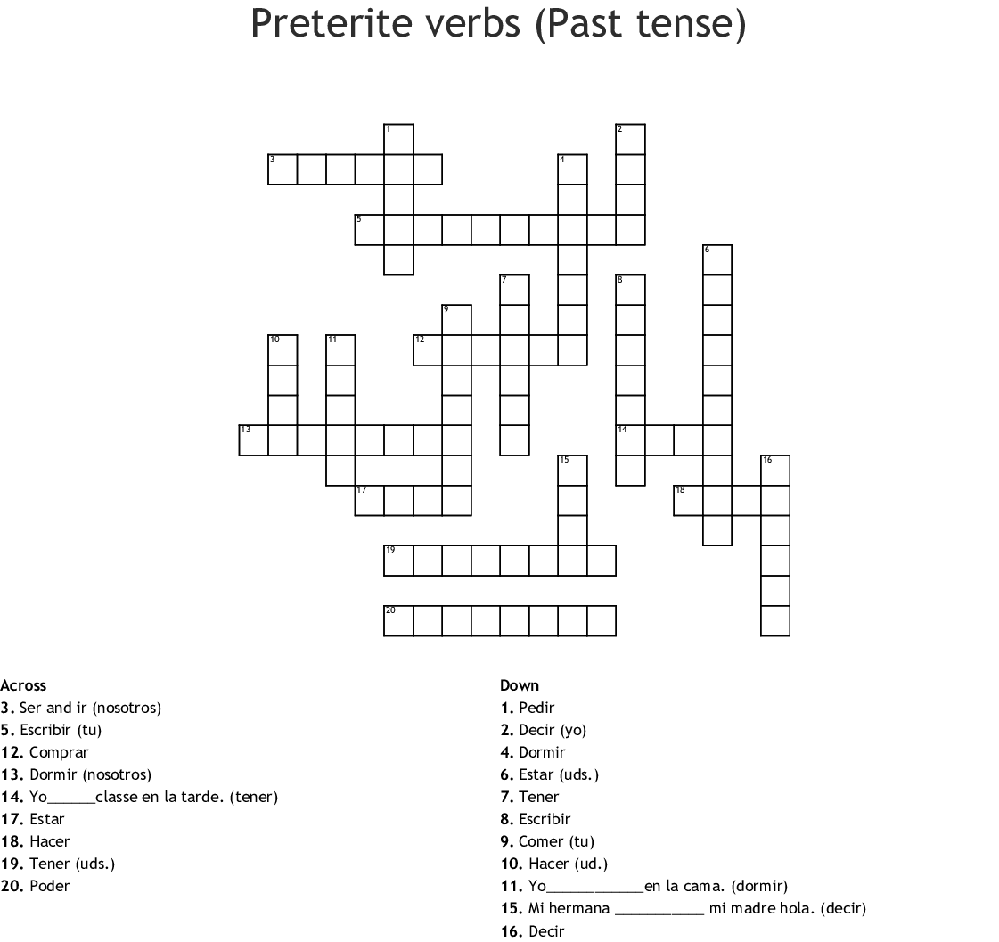 Common E I Preterite Stem Change Verbs Crossword