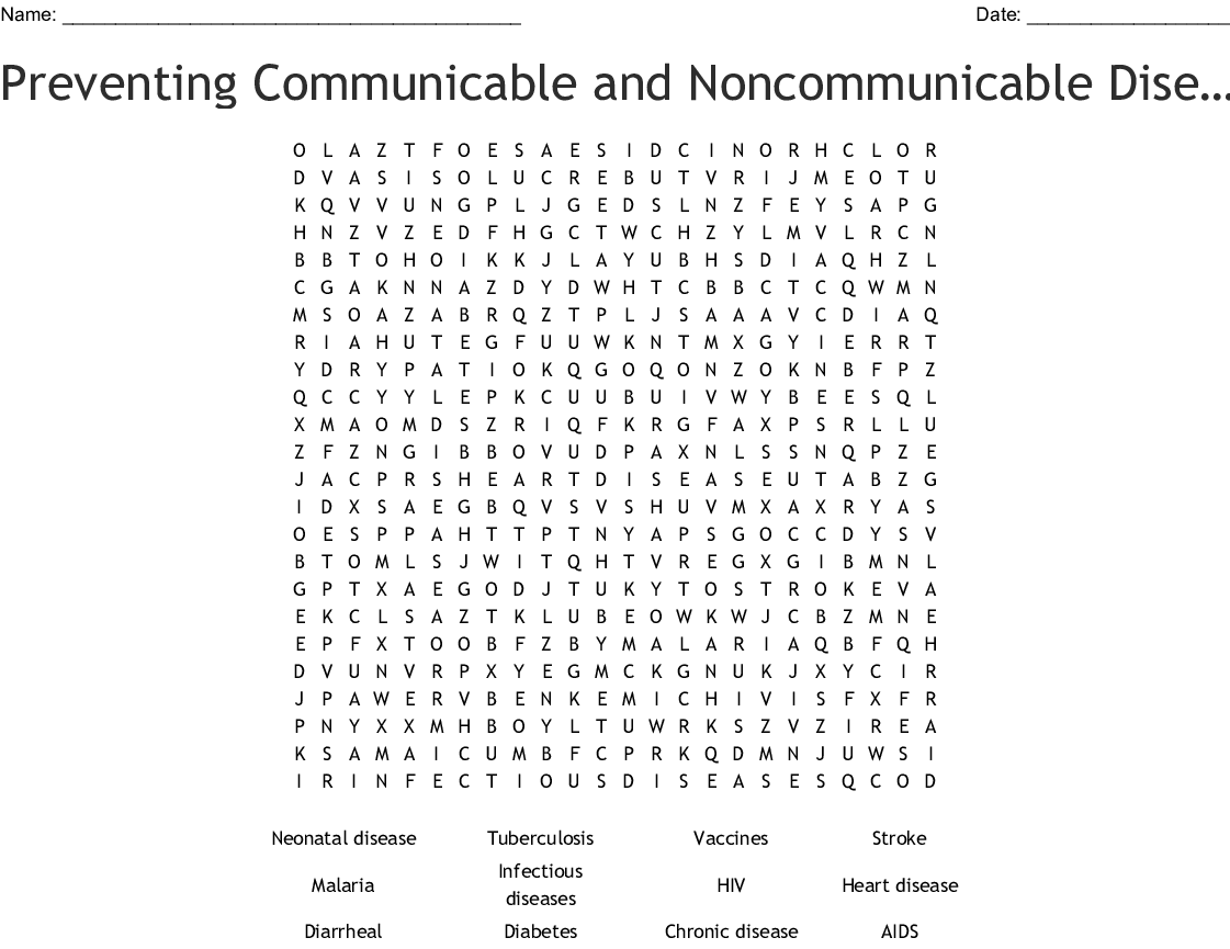 Preventing Communicable And Noncommunicable Diseases Word Search