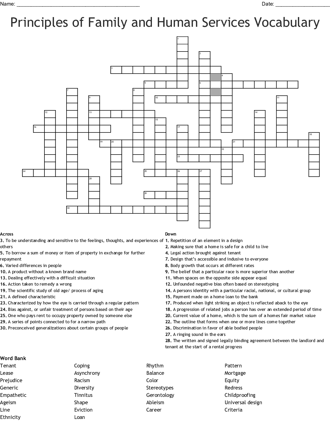 Principles Of Family And Human Services Vocabulary Crossword