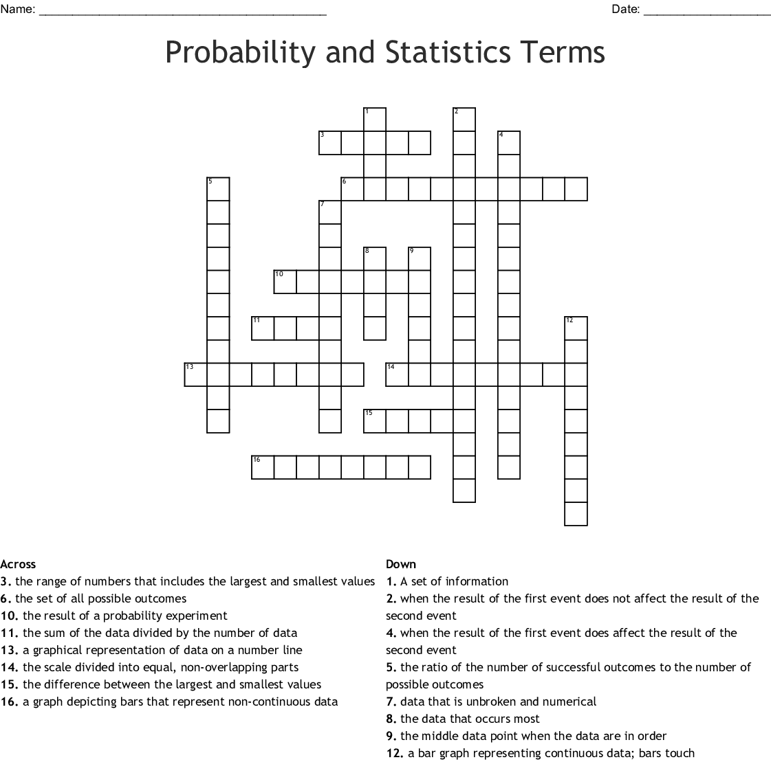 Data And Statistics Crossword