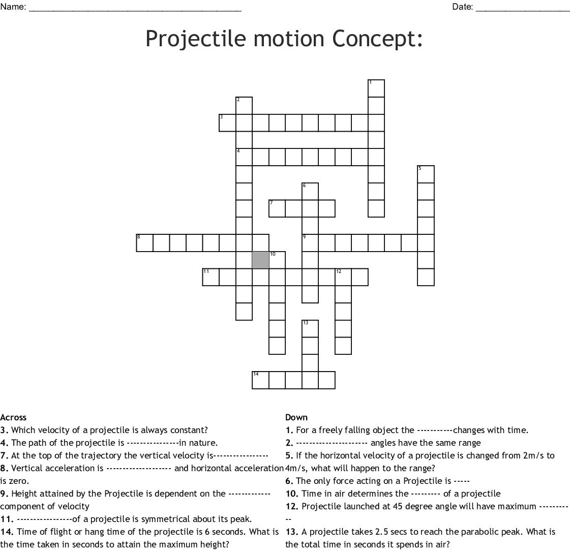 Projectile Motion Crossword