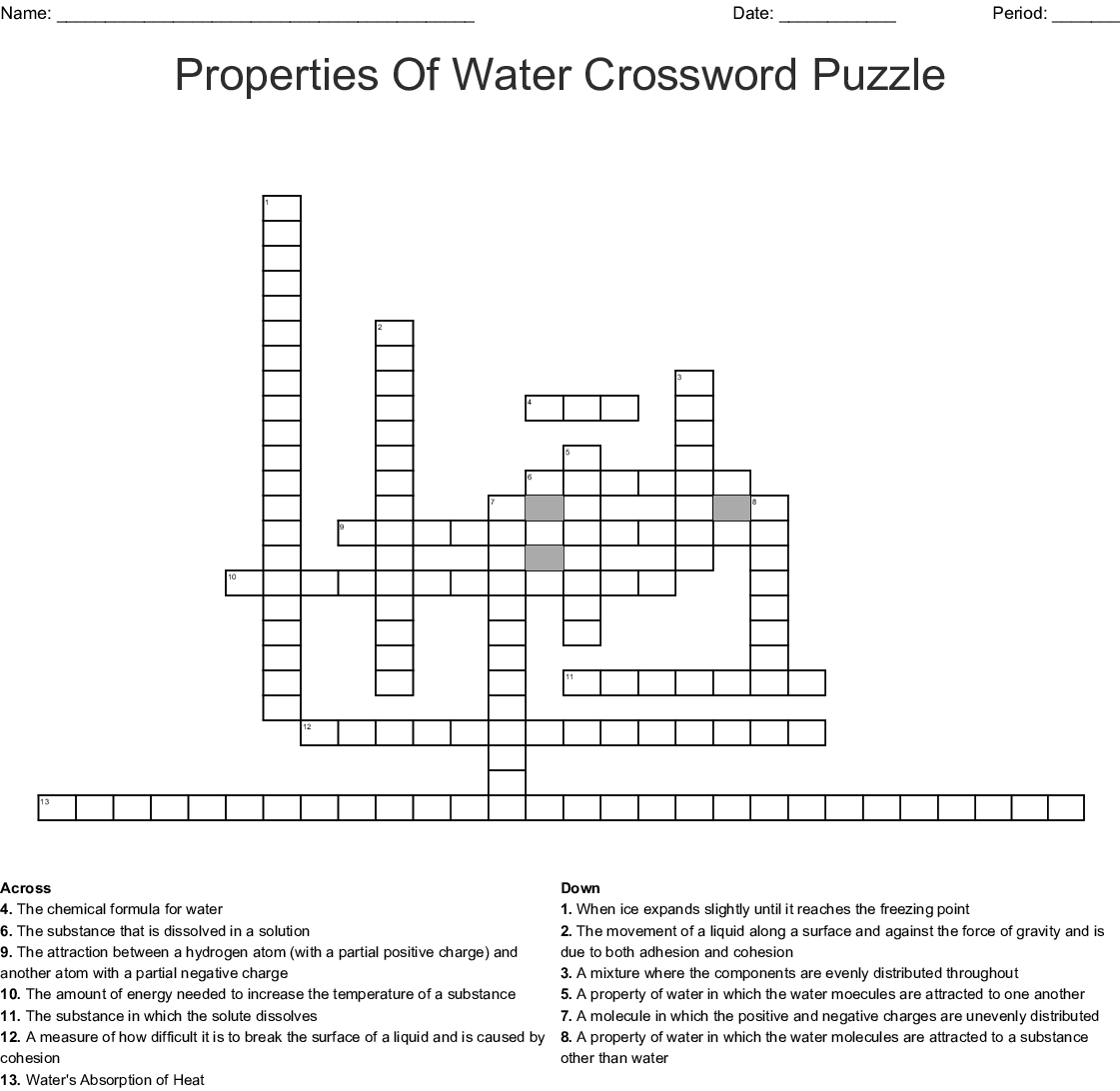 Properties Of Water Worksheet Answers Biology