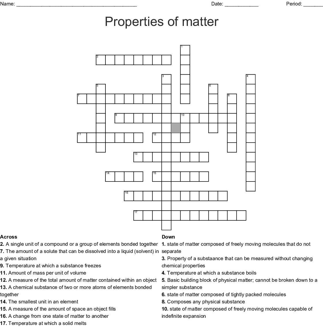 Matter And Its Properties Crossword