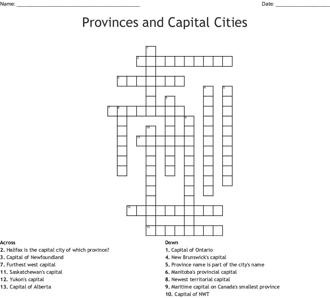 Canada Day Crossword