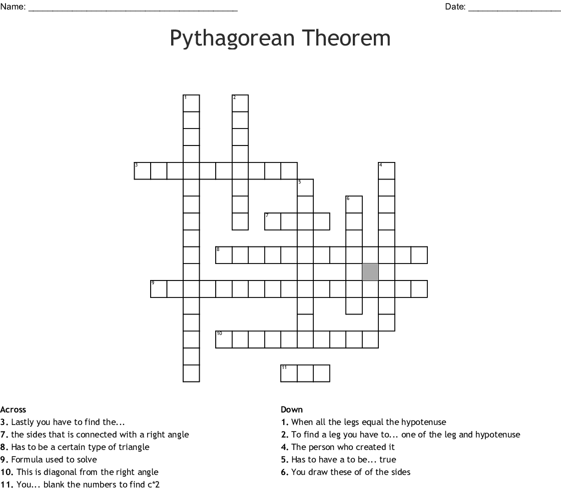 The Pythagorean Theorom Crossword