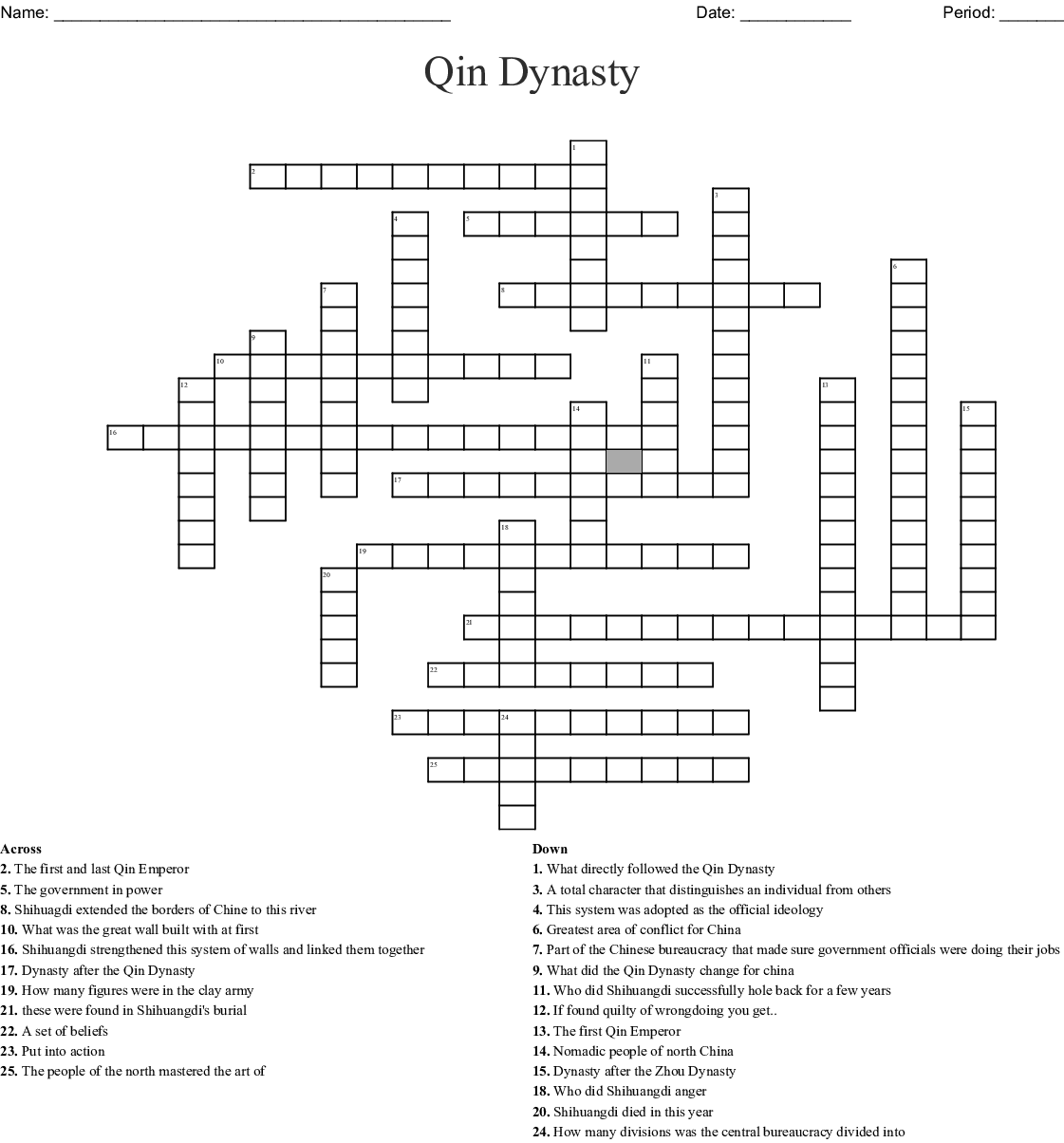 The Qin Dynasty Crossword