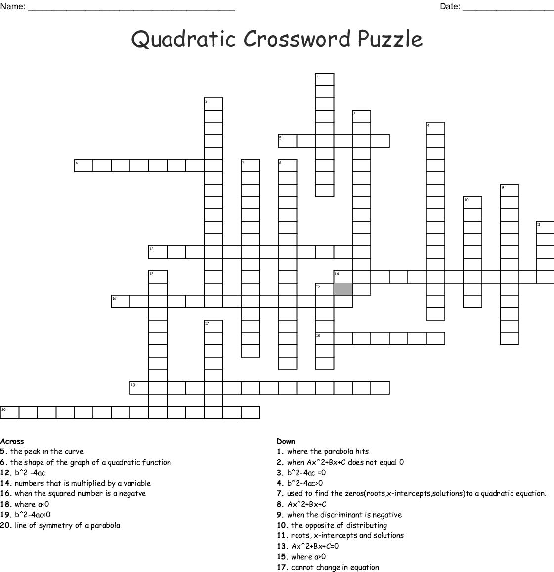 8th Grade Math Crossword