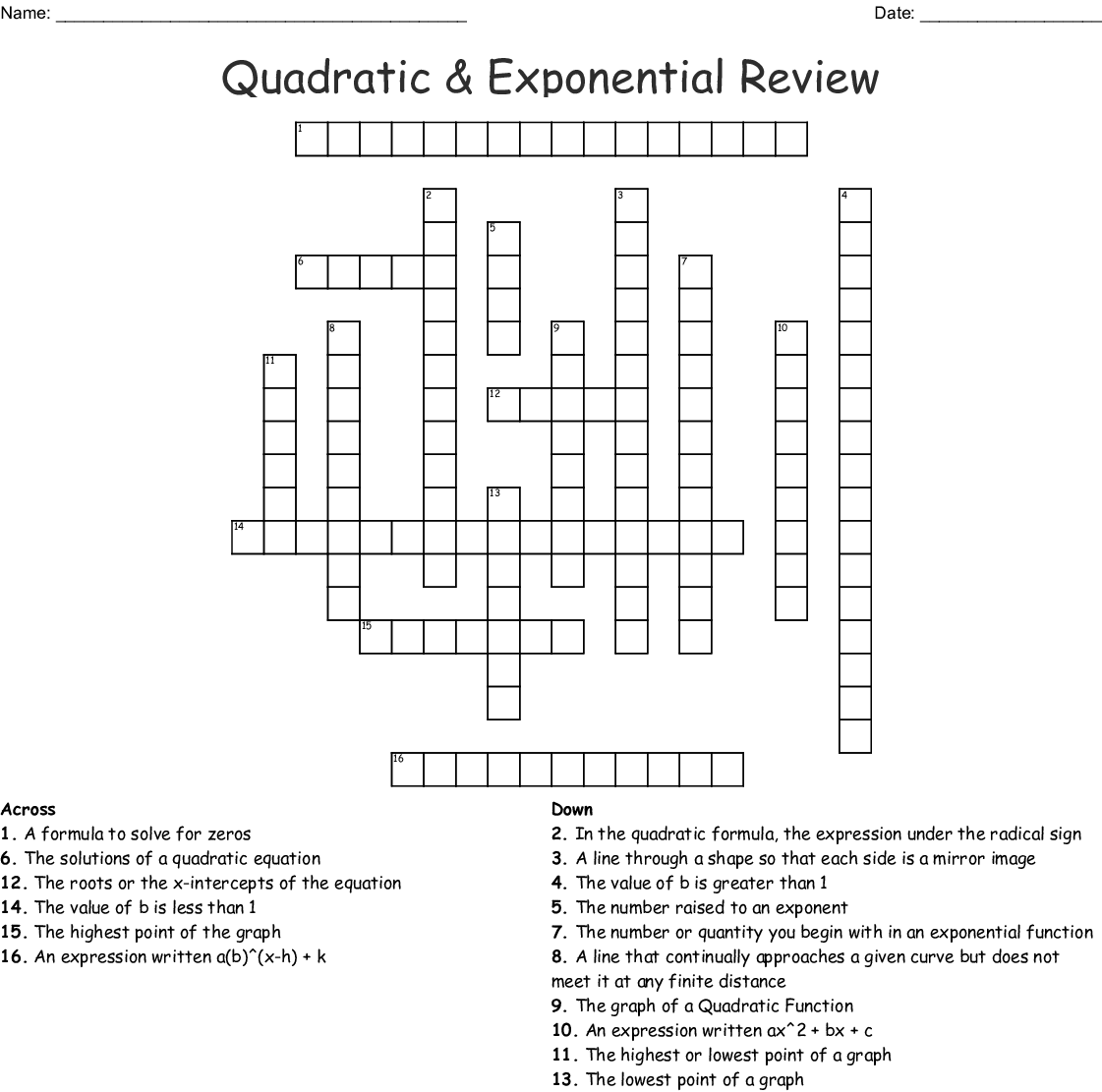 Quadratic Amp Exponential Review Crossword