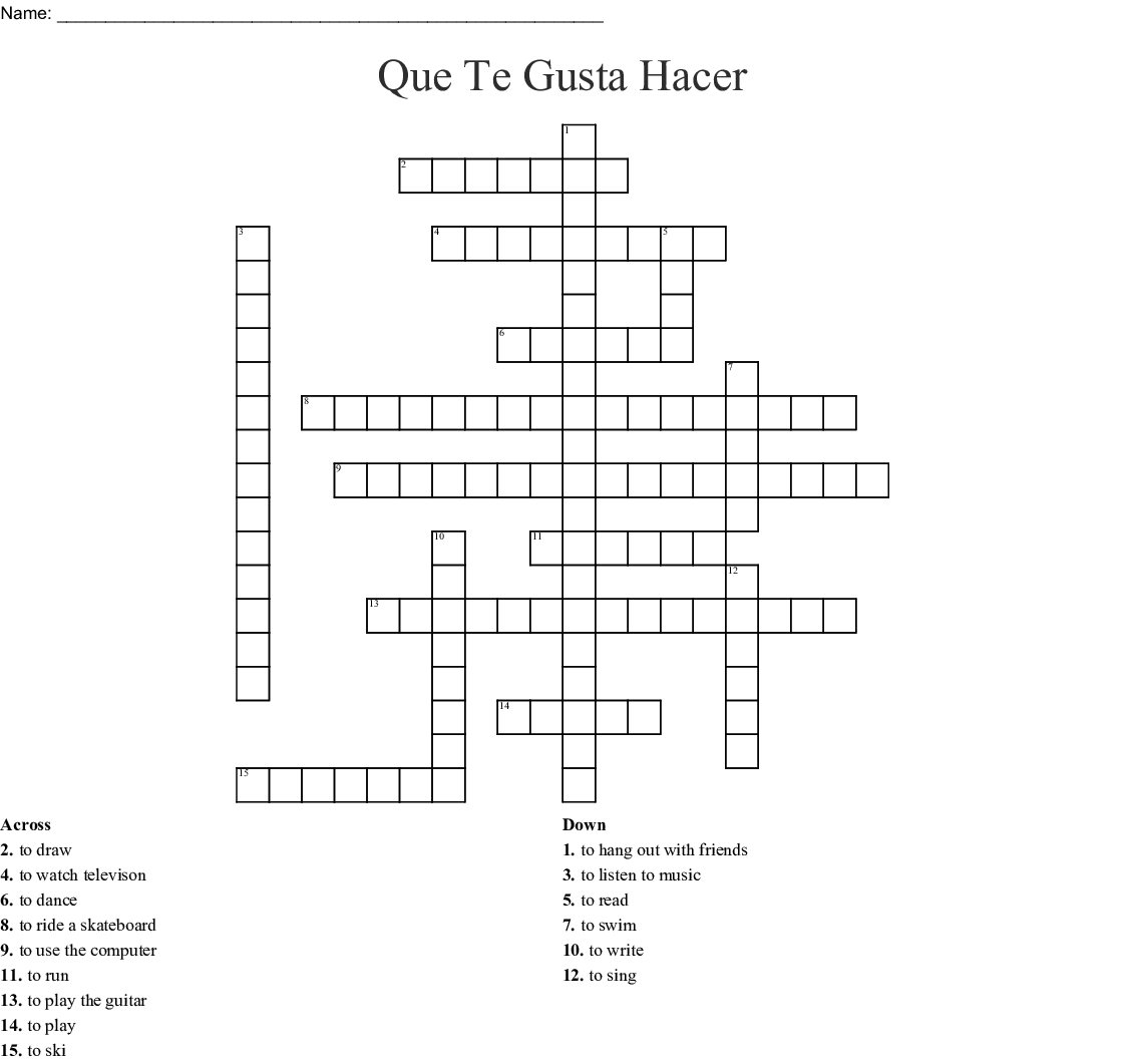 Spanish Hobbies Crossword