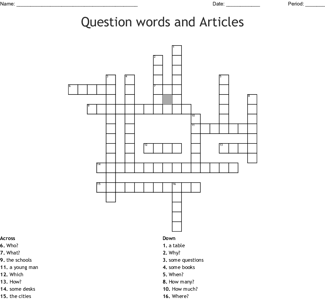 Question Words And Articles Crossword
