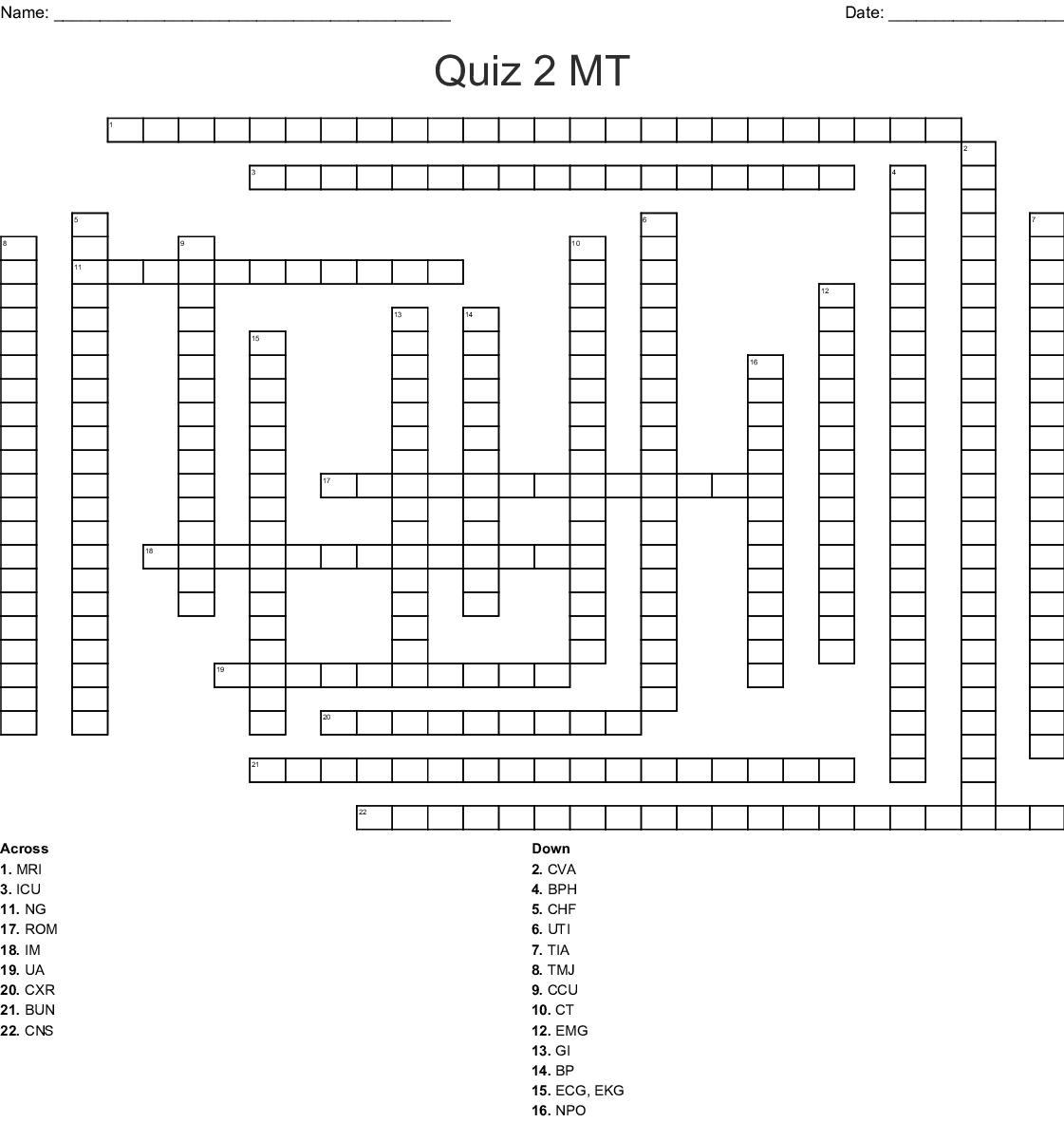 Similar To Medical Abbreviations Crossword