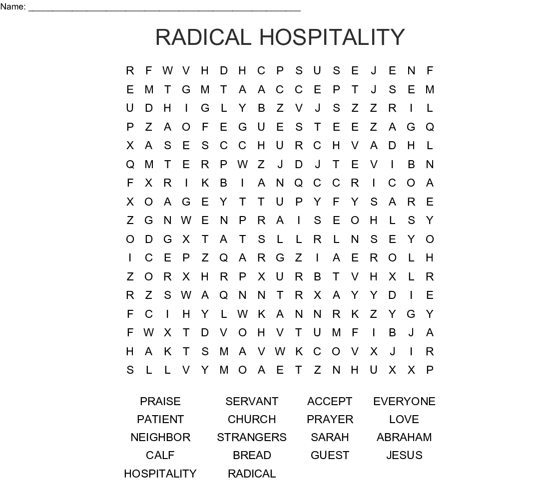 Radical Hospitality Word Search