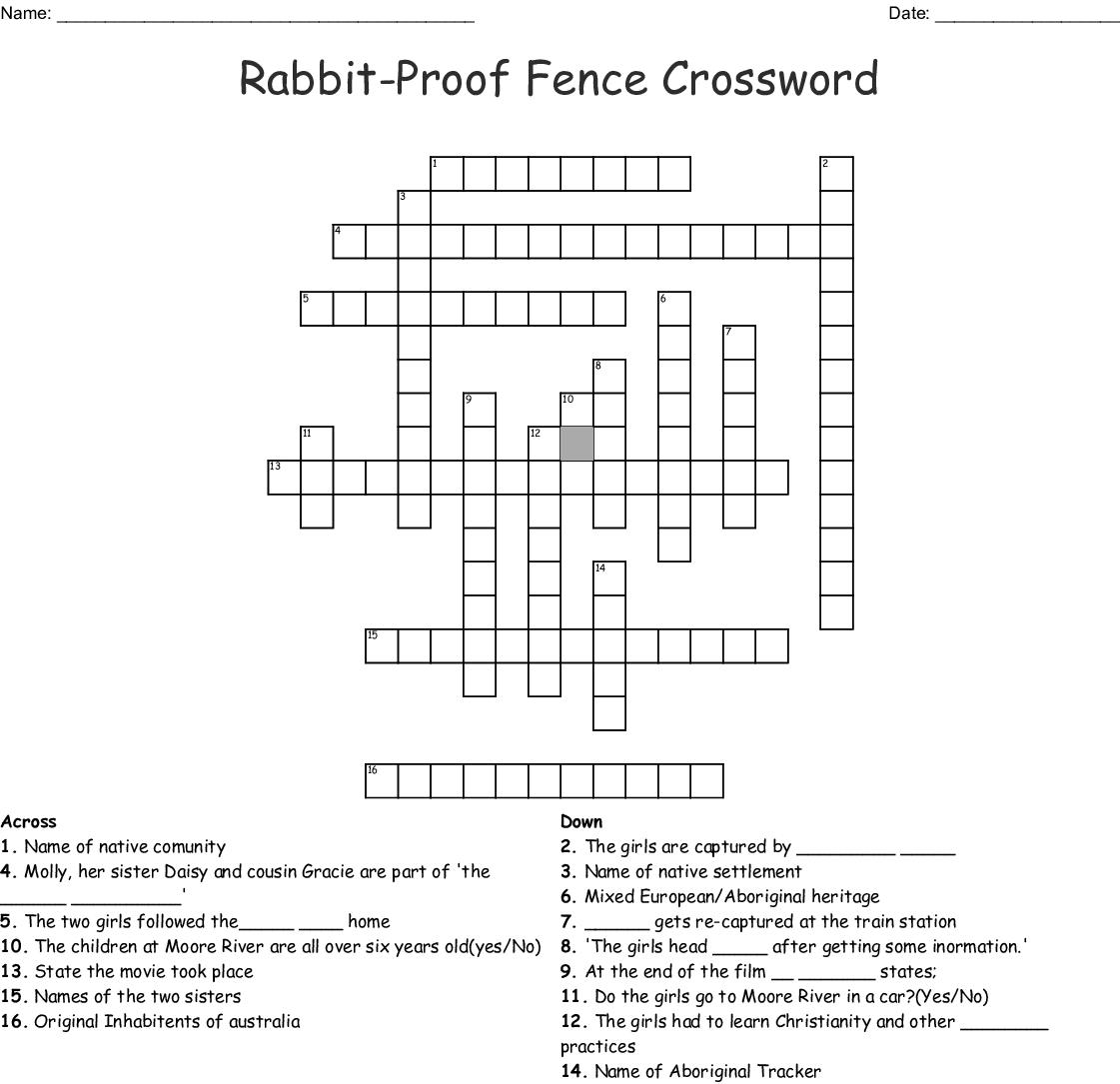 Rabbit Proof Fence Crossword