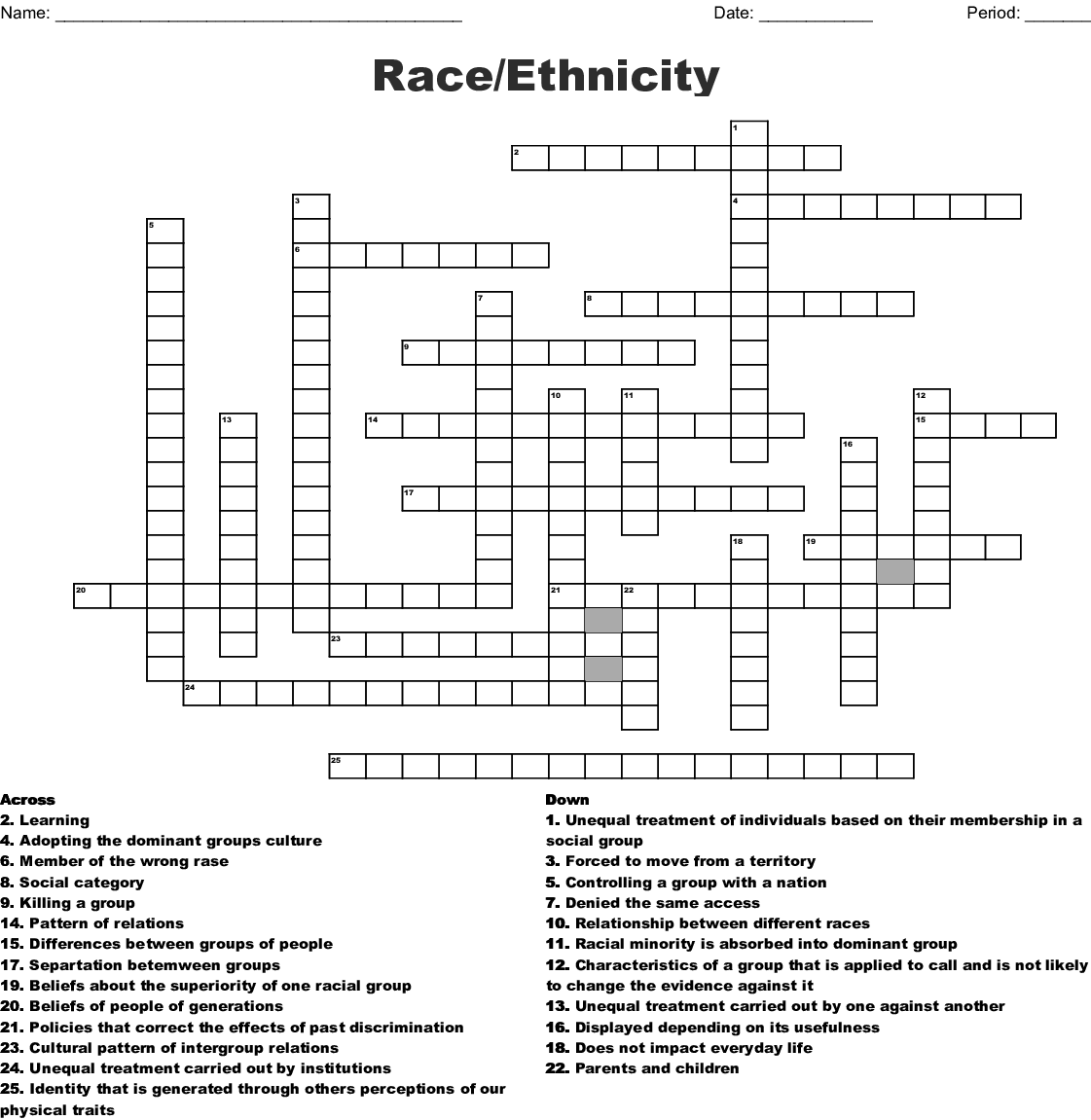 Race Ethnicity Crossword