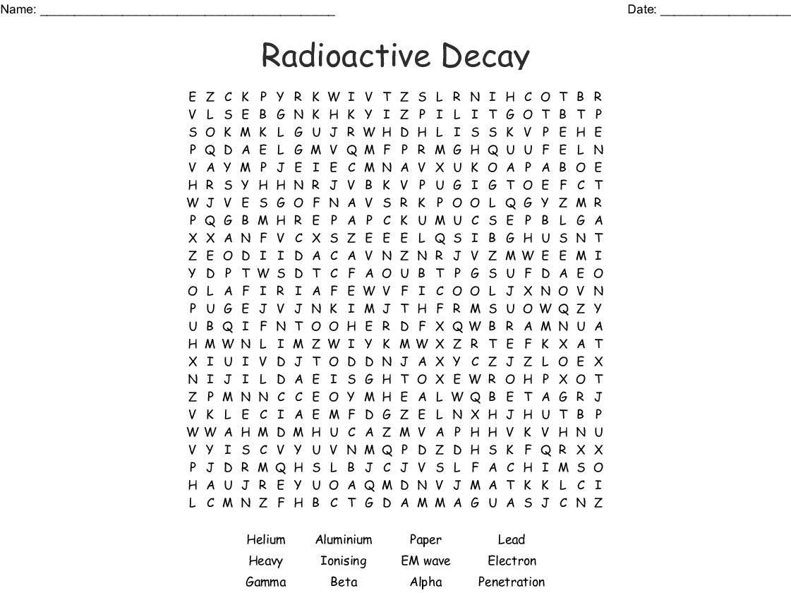 Radioactive Decay Word Search