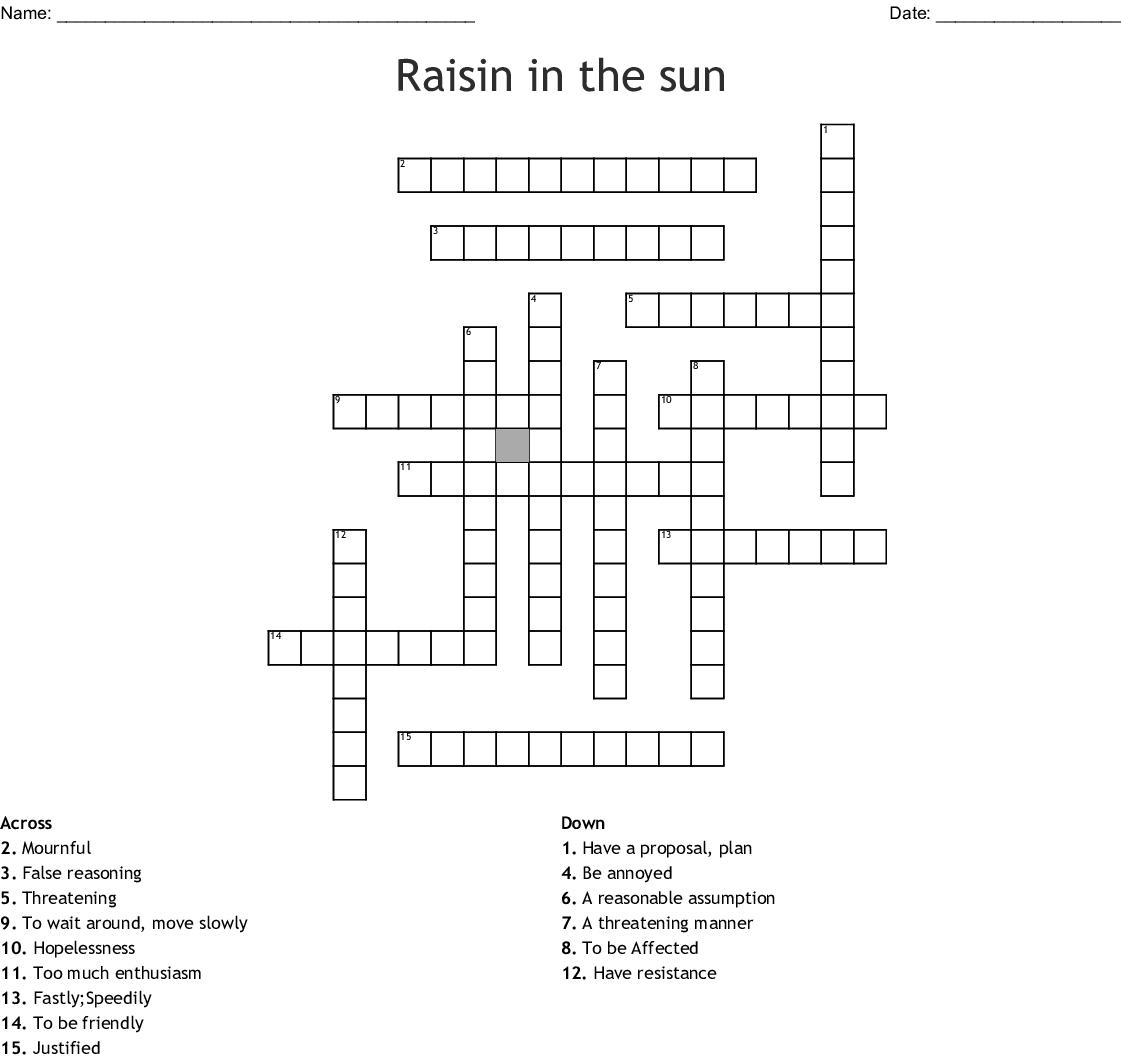 Raisin In The Sun Vocabulary Scramble