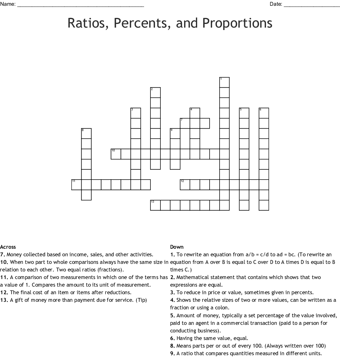 Ratios Percents And Proportions Crossword