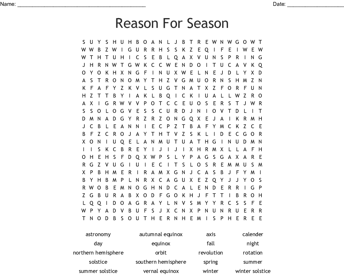 Reason For Season Word Search