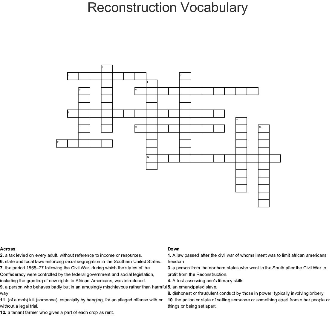 Reconstruction Vocabulary Word Search