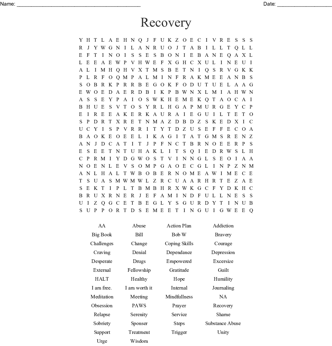 Relapse Prevention Word Search