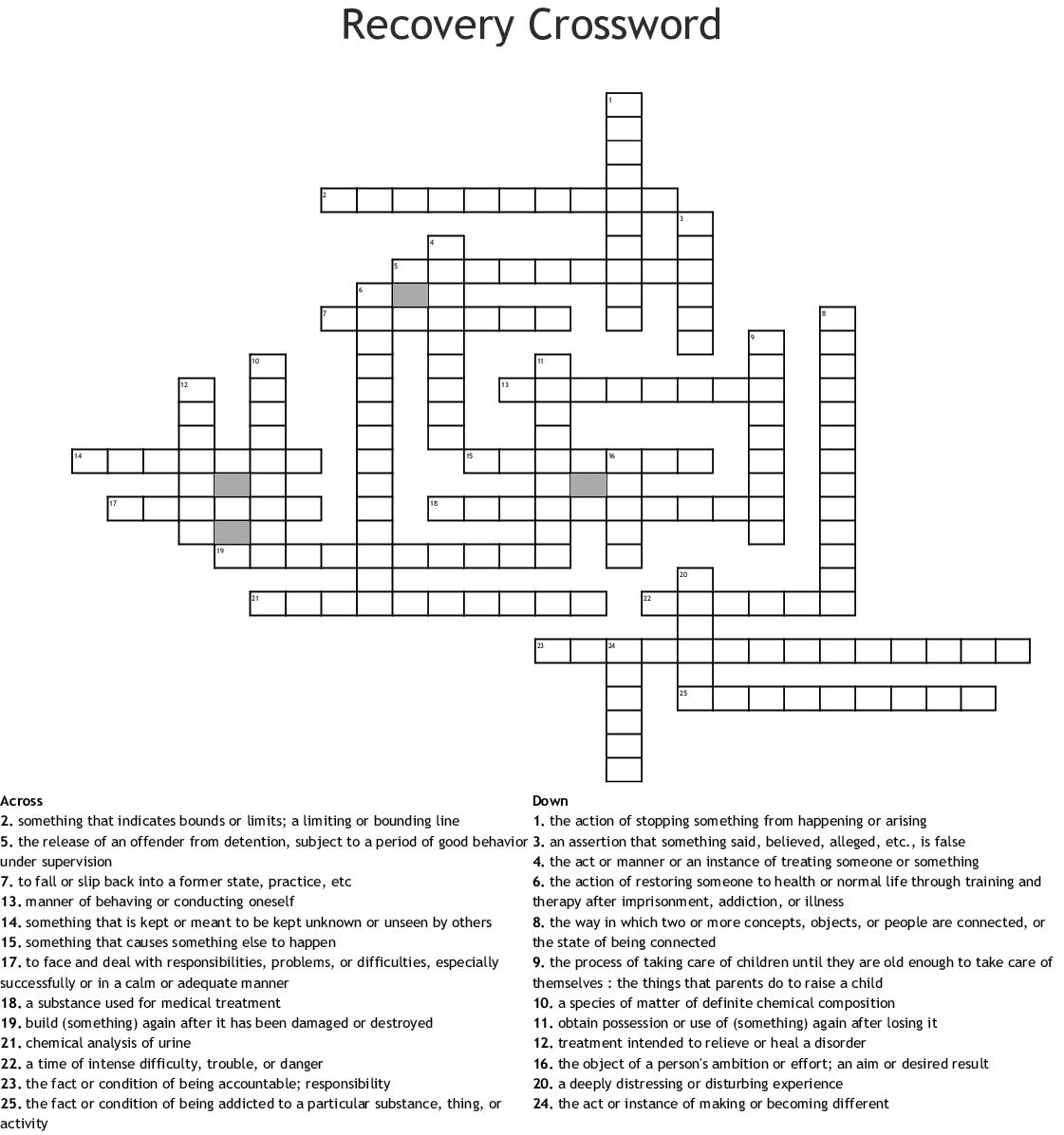 Recovery Crossword
