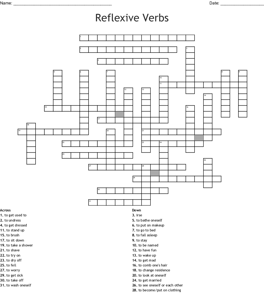 Spanish 2 Unit 2a Crossword