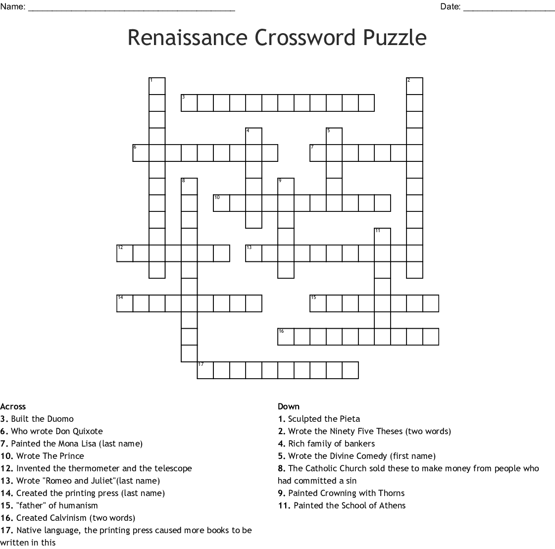 Renaissance Crossword Puzzle Crossword