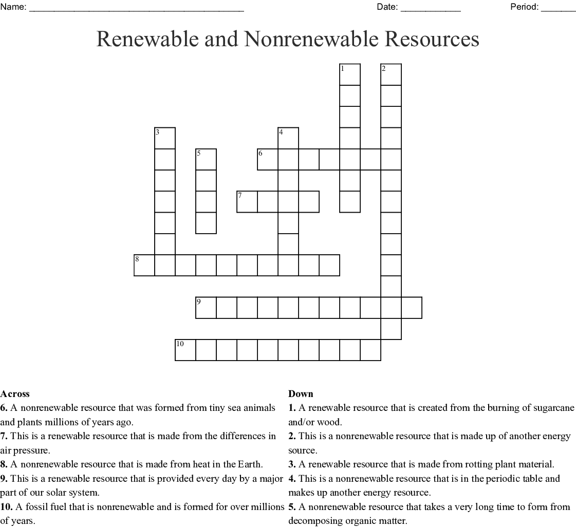 Renewable And Nonrenewable Resources Crossword