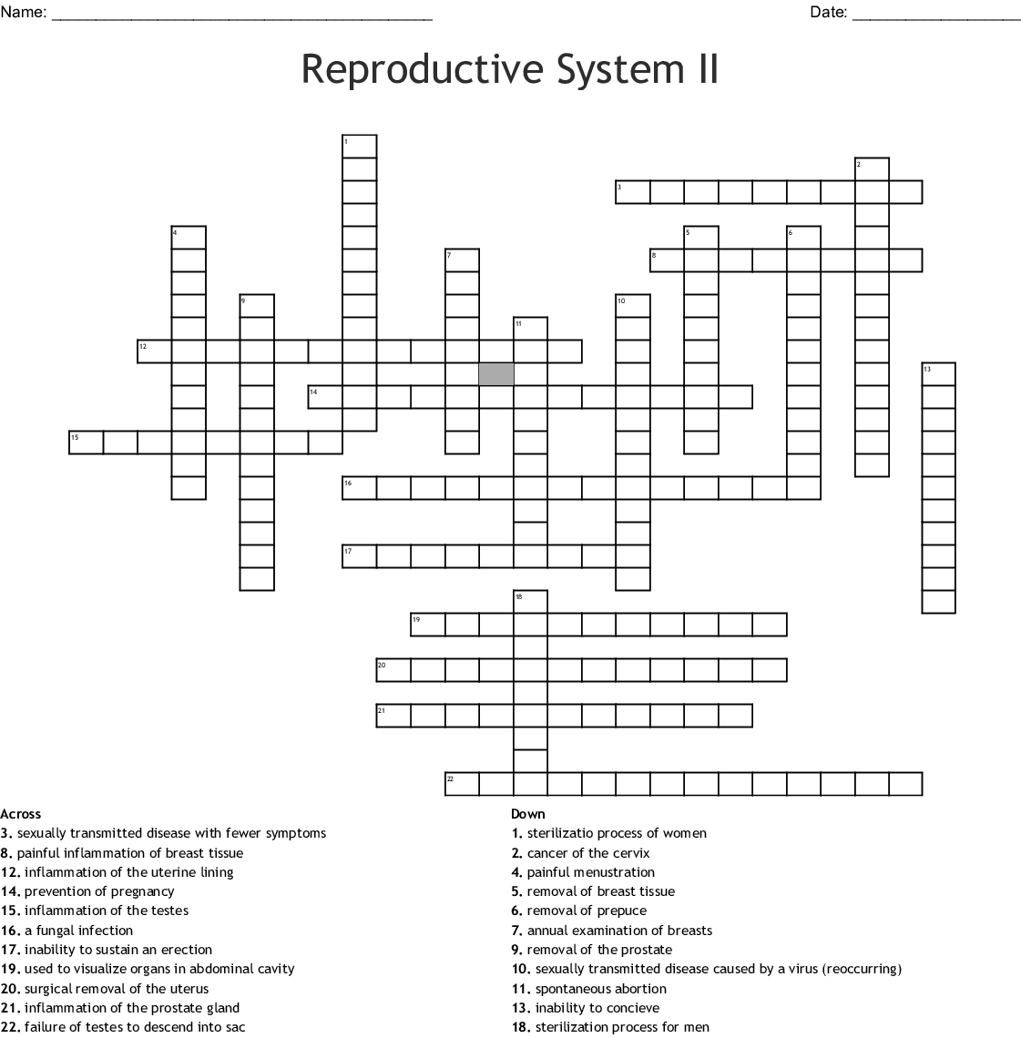 Reproductive System Ii Crossword
