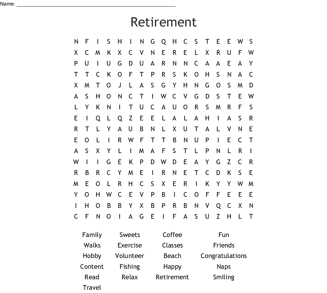 Retirement Word Search