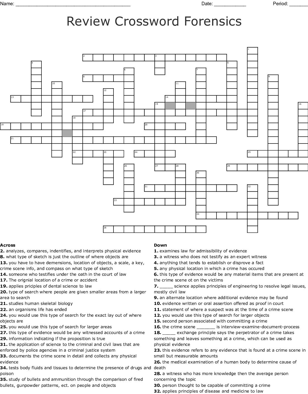 Crime Scene Basics Worksheet