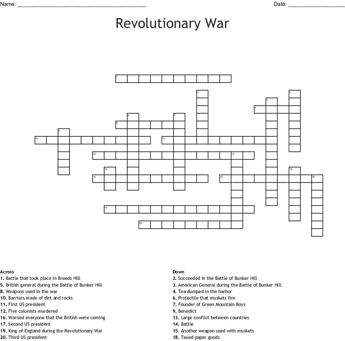 The Battle Of Saratoga Word Search