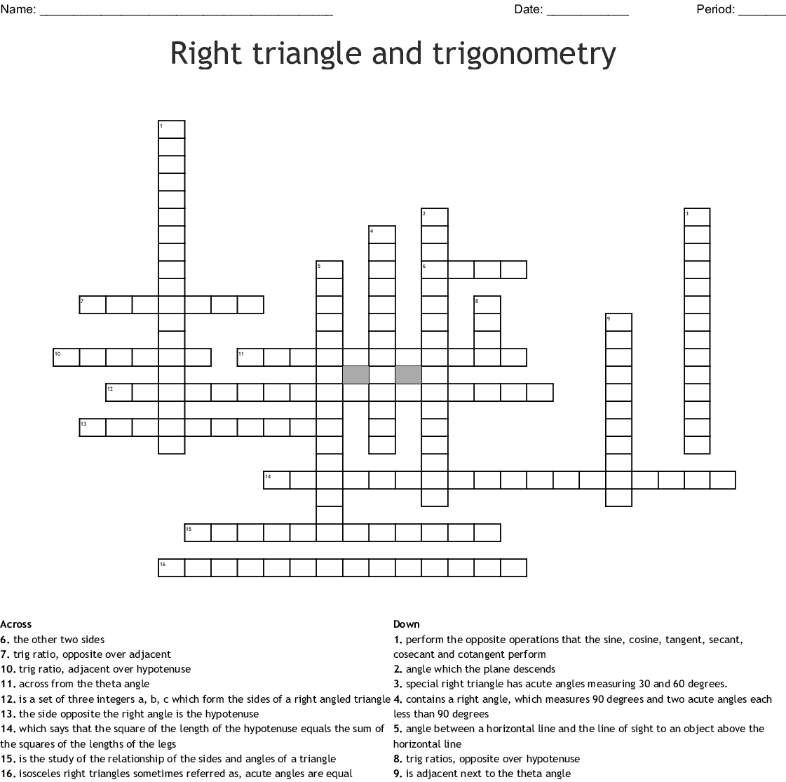 Trigonometry Crossword