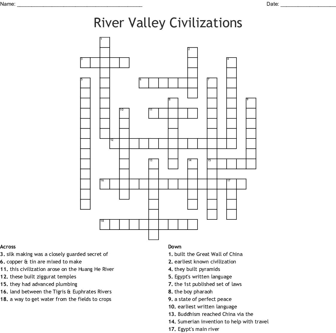 River Valley Civilizations Crossword