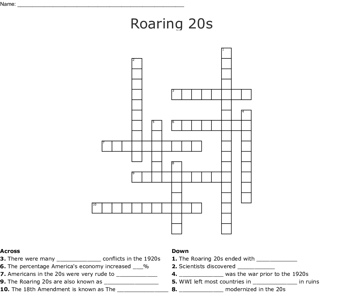 Roaring 20s Word Search