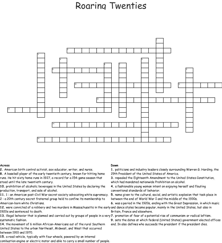 The Roaring Twenties Crossword