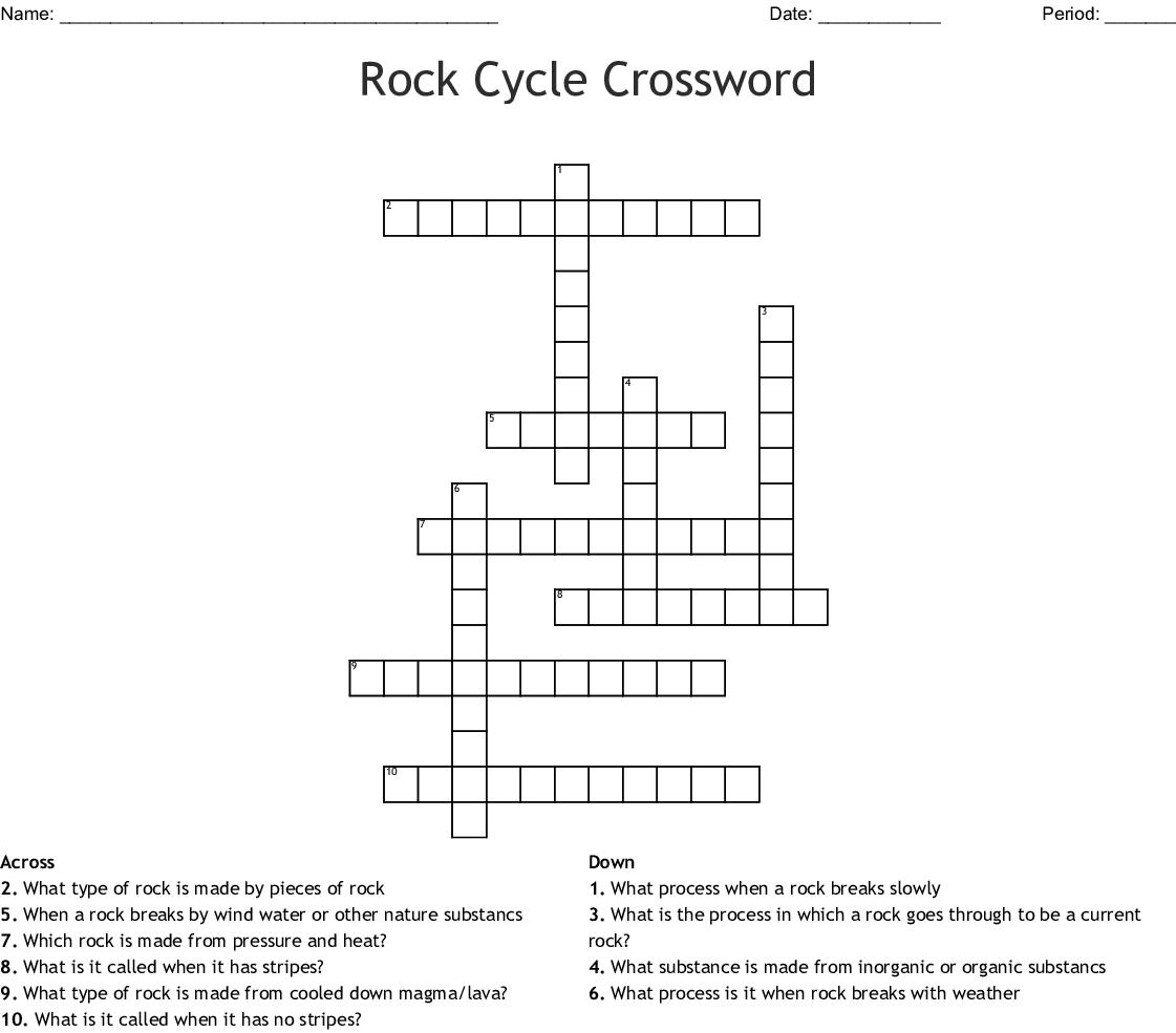 Rock Cycle Crossword