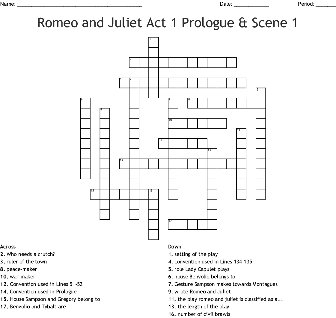Romeo And Juliet Act 1 Worksheet Answers