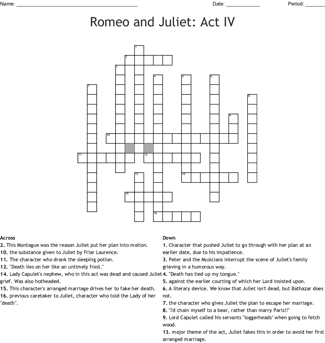 Romeo And Juliet Close Reading Worksheet Answers