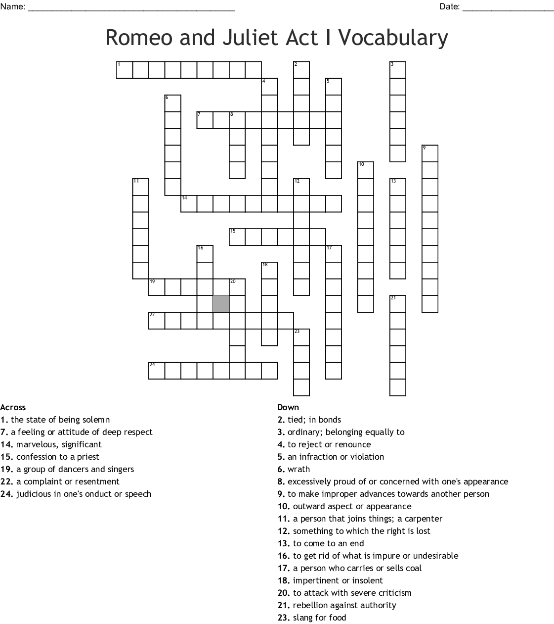 Romeo And Juliet Act I Vocabulary Crossword