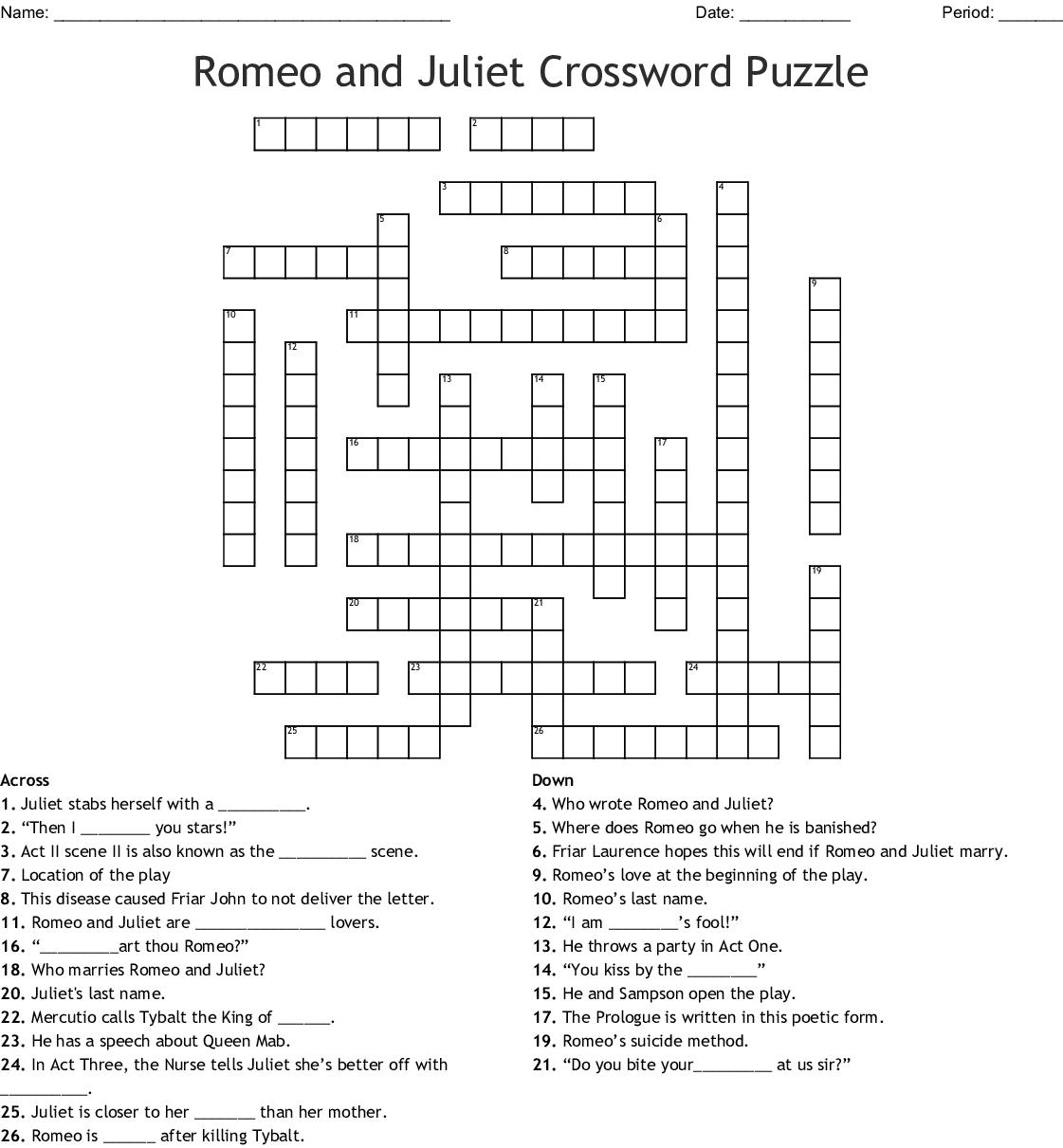 Romeo And Juliet Crossword Puzzle Crossword